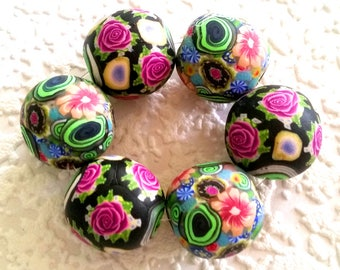 6 x polymer clay beads, mixed bag, floral, blades and roses, clay beads, colorful, mix, 1Set