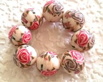 8 floral, polymer clay beads, rose, pink rose, white, Brown, pink