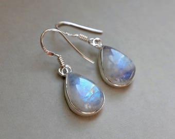 Rainbow Moonstone Silver Earrings - Teardrop June Birthstone Earrings - Tear Drop Rainbow Moonstone Earrings - Rainbow Moonstone Jewelry