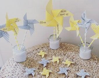 Pack deco windmills yellow & grey baptism
