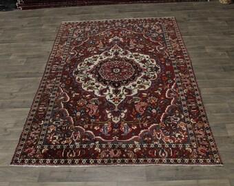 Beautiful S Antique Hand Knotted Bakhtiari Persian Area Rug Oriental Carpet 7X10