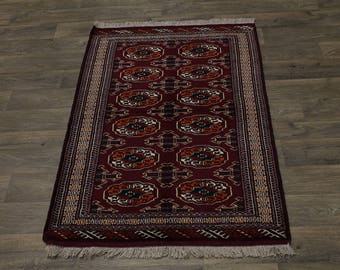 Fine Hand Knotted Tribal Red Turkoman Persian Area Rug Oriental Carpet 3'4X5'5