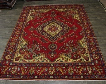 Spectacular Gold-Washed S Antique Tabriz Persian Rug Oriental Area Carpet 10X13