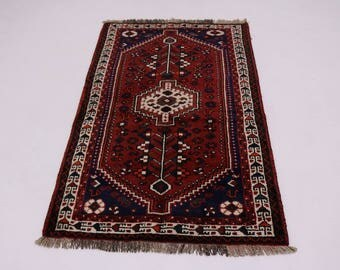 Great Shape Handmade Tribal Shiraz Persian Wool Rug Oriental Area Carpet 3'5X5'6