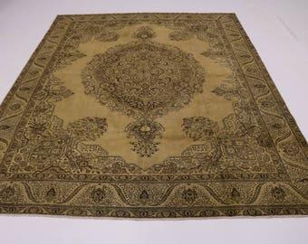 Delightful Handmade Antique Muted Tabriz Persian Rug Oriental Area Carpet 11X15
