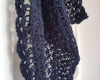 Elegant blue crochet shawl/scarf lace style