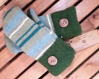 Striped forest green and blue mittens