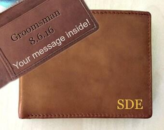 Personalized wallet • groomsmen gift • best mans gift • monogram men's wallet •  bridal party • gift for groomsmen • A.saddle * 7751