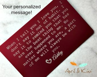 Personalized Wallet Card, Custom Wallet Insert, Stocking stuffer for him, Valentine's Day Gift for Men, Anniversary Gift for Him,