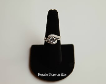 925 Sterling Silver Halo Round Cut CZ Wedding Engagement promise ring, ring for her, anniversary gift, Christmas gift, promise ring, US 7