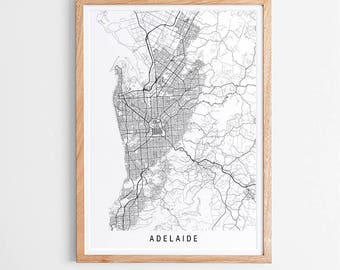 Adelaide Map Print - Minimalist Map / Australia / City Print / Australian Maps / Giclee Print / Poster / Framed
