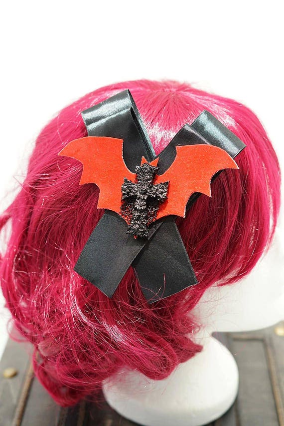 Gothic red cross bat black bow hairpin brooch / bat black loop with resin cross hair clip and brooch