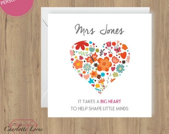 Thank You Teacher Card - Personalised Design - Thank You Card - School Teacher - Printable Card - Digital Download File - Heart Design