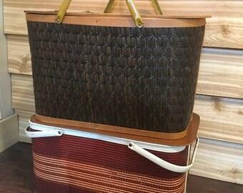 On Sale Vintage picnic basket, brown basket, woven, riser, cottage, cabin, lake, camping, decor, stacking,