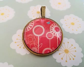 Red Flowers cabochon glass pendant with print