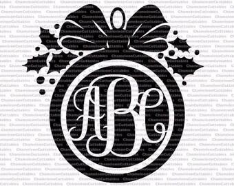 Christmas ornament black, svg, cut, file, decal, vector, silhouette, mistletoe, monogram, monogrammed, vinyl, holidays, clipart, design