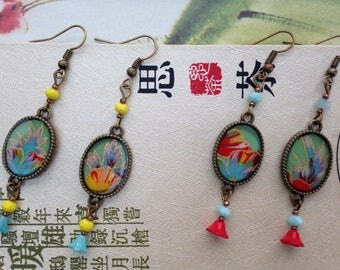 Earrings, Japanese paper and glass flower beads.