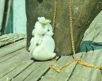 Hand-carved Chinese Pale Green/White Jade Pendant