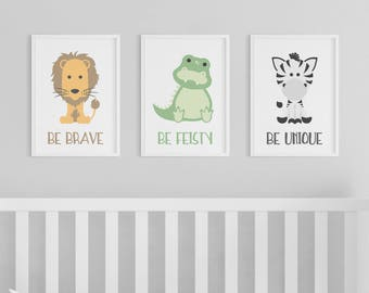 Animal Prints | Zoo Animals | Nursery Art | Brave Feisty Unique | Set of 3 Prints | Safari Nursery | Lion | Alligator | Zebra | Baby Animals