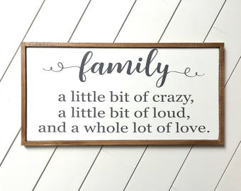 Family Sign - Family A Little Bit Crazy Sign - Farmhouse Decor - Farmhouse Sign - Farmhouse Family Signs - Entryway Decor