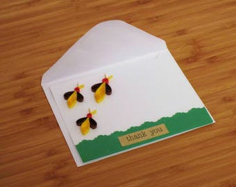 Thankyou Bees Theme Card,Thankyou Nature Greeting Card,Thankyou Religious Bees Blank Card,Thanks Blank Nature Card