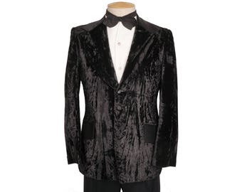 Vintage 1970s Black Crushed Velvet Tux Tuxedo Jacket Mens Size 38 Short