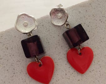 Earrings hearts and cubes