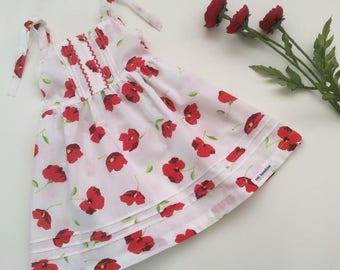 Baby Girls Dress - Size 0, Shirred Dress, Poppy Dress, Tie Shoulder Dress, Summer Dress, Girls Sundress, Cotton Dress, White Dress,