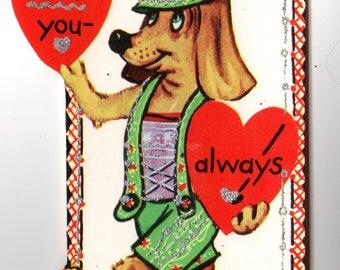 Vintage Dog wearing Lederhosen Die-Cut Children's Classroom Valentine's Day Card
