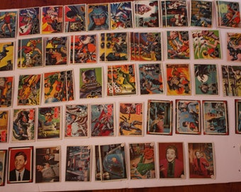 Vintage Lot of 59 Batman & Robin Trading Cards 1966 National Periodical Mixed Lot Black Bat