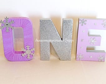 Winter wonderland letters,one,paper mache,winter wobderland  decorations,winter wonderland birthday,cake smash photo props