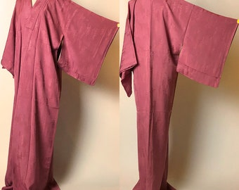 "Japanese K031503 Bautiful Beigeish Orange ""Iro-muji"" Kimono Vintage"