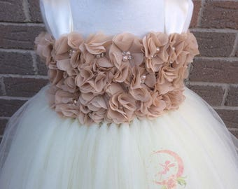 Beige and Ivory flower girl dress, champagne chiffon flowergirl tutu dress, Ivory chiffon tutu dress, flowergirl dresses, ivory and beige