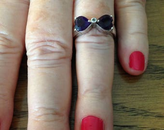 Sterling Amethyst Double Heart Ring