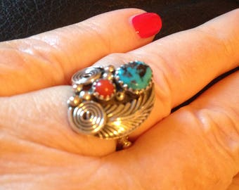 Native American Turquoise and Coral Sterling Silver Ring