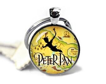 Peter Pan Key Ring Peter Pan Keychain Peter Pan Keyfob  Fangirl Fanboy Peter Pan Accessories