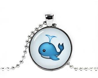 Blue Whale Emoji Necklace Blue Whale Emoji Pendant Geeky Necklace Geeky Pendant 25mm Pendant