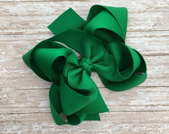 Double stacked hair bows, double layer hair bows, green double stacked hair bows, girls hair bows, saint patrics hair bows, green hair bows