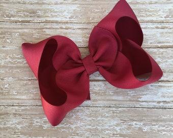 Burgundy Boutique hair bow, hair bows, solid color hair bows, large hair bows, Thanksgiving hair bows, christmas hair bows, wine hair bows