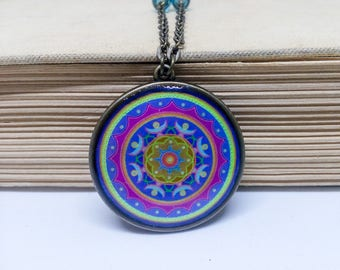 Blue mandala necklace, Indian jewelry, Mandala pendant, Unique necklace, Mandala jewelry, Oriental necklace, Ethnic jewelry, Asian jewelry