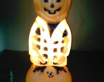 Vintage Halloween Jack O Lantern Blow Mold Light (Bayshore)   *****1970's****** 14-15 inches Nice