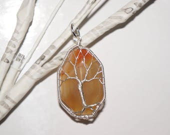 Fire Agate Tree of Life Pendant