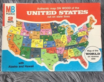Map Puzzle Wood Toy Etsy - Us jigsaw map wood