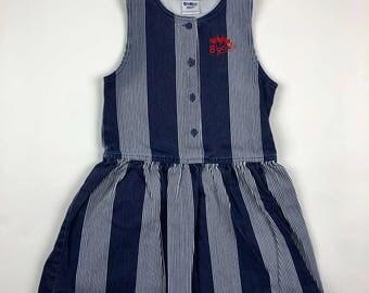Vintage Oshkosh Denim Striped Jumper Sleeveless Button Jean Dress Girls 6