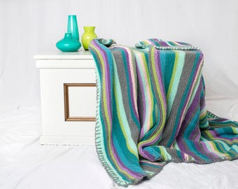 Striped knitted  blanket  - knitted throw - knitted afghan - throw - afghan