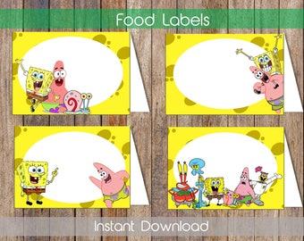 Spongebob Food Labels Spongebob Food Tent Labels Spongebob Candy Labels Spongebob Name Cards Printable Food Tent  sc 1 st  Etsy & Labels for food | Etsy