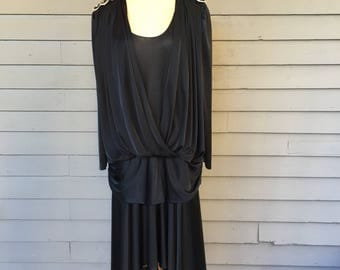 Size 20 Black Flapper Dress | 1980s does 1920s Black and Silver Stretch Knit Dress with Sequins and Beads | Plus Size
