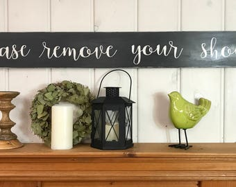 Please remove your shoes sign   entryway decor   rustic wood sign   no shoes sign   rustic entryway decor   wooden signs   48x5.5