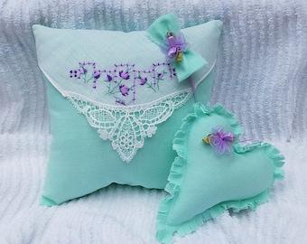 Vintage Hanky Pillow Newborn Photo Prop/Mint Green Baby Photo Prop Pillow Set