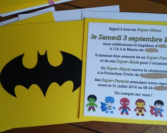 Baptism Batman Super Hero themed birthday invitation